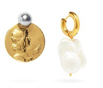 Mismatched Pearl & 24kt Gold-plated Earrings