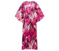 Sorella Peony-print Hammered-silk Dress