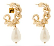 Comedy Pearl Chain-hoop Earrings