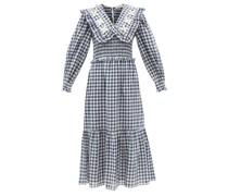 Gina Ruffled-collar Gingham Cotton Midi Dress
