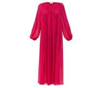 Balloon-sleeve Silk-plissé Maxi Dress