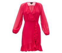 Pussy-bow Ruffled Silk-crepe Mini Dress