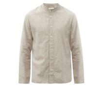 Nailhead-jacquard Cotton-blend Calico Shirt