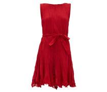 Carla Belted Pleated-cotton Mini Dress