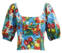 Papaya Floral-print Cotton-blend Poplin Top