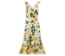 Camellia-print Ruffled Silk-blend Midi Dress