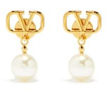 V-logo Pearl-drop Earrings