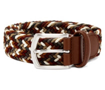 Multicoloured Leather And Stretch Viscose Belt