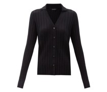 Indya Point-collar Ribbed-cashmere Cardigan