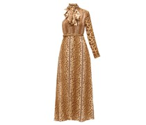 Leopard-print Pussy-bow One-shoulder Satin Dress