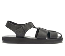 Caged Grained-leather Sandals