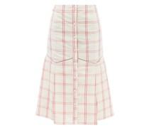 Tania Windowpane-check Linen-blend Midi Skirt