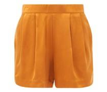 Zurich Pleated Silk-satin Pyjama Shorts