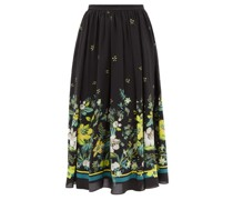 Lanie Ashcombe Forest-print Silk Midi Skirt