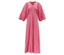 Balloon-sleeve Cotton-cheesecloth Maxi Dress
