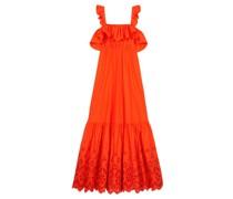 Flounced Broderie-anglaise Cotton-poplin Dress