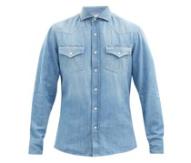 Snap-button Washed-denim Cotton Shirt