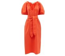 Alora V-neck Belted Organic-cotton Midi Dress