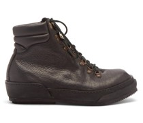 Grained Leather Hiking Boots