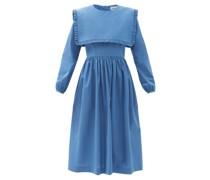 Arabella Square-bib Cotton-poplin Midi Dress