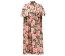 Ruffled Metallic Floral-jacquard Dress