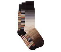 Pack Of Three Striped Cotton-blend Socks