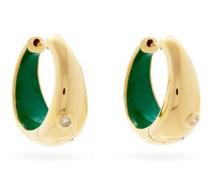 Diamond & 9kt Gold Hoop Earrings
