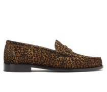 Leopard-print Calf Hair Penny Loafers