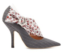 Miss Pump Rose-print Trim Pinstripe Pumps