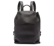 Logo-debossed Drawstring Leather Backpack