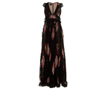 Floral-print Lace-trimmed Silk Gown