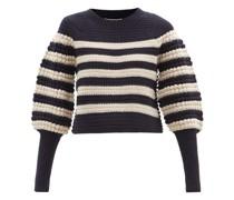 Reese Striped Popcorn-stitch Merino-wool Sweater