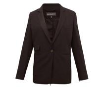 Zipped-back Single-breasted Wool Jacket