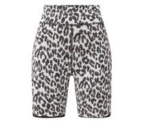 High-rise Snow Leopard-jacquard Cycling Shorts