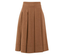 Pleated Twill Midi Skirt