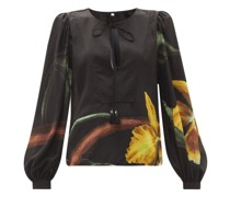 Furor Botanico-print Silk-georgette Top