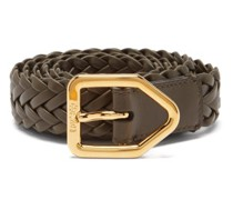 Lozenge Woven-leather Belt