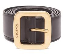 Logo-engraved Buckle Leather Belt