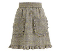 Polka-dot Prince Of Wales-check Wool Skirt