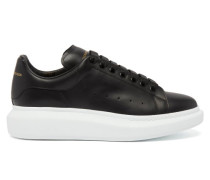 Raised-sole Leather Trainers