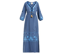 Lola Floral-embroidered Silk-crepe Dress