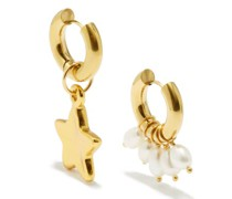 Mismatched Pearl & 24kt Gold-plated Hoop Earrings