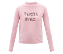 Flower Power Embroidered Wool-blend Sweater