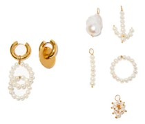 Mismatched 24kt Gold-plated Earrings And Charm Set
