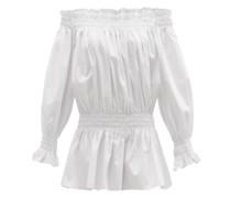 Shirred Cotton-poplin Mini Dress