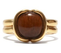 Cushioned Tiger's Eye & 18kt Gold Ring