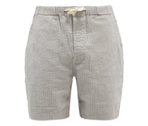 Striped Cotton-blend Seersucker Shorts