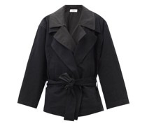 Double-breasted Layered Cotton-blend Jacket