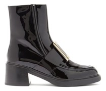 Viv Rangers Buckled Patent-leather Ankle Boots