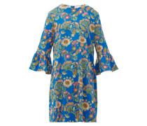 24/7 Thistle-print Trumpet-sleeve Crepe Dress